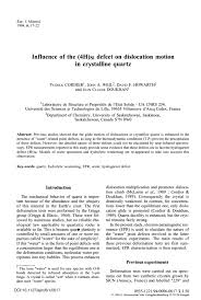 si e des motions influence of the 4h si defect on dislocation motion in crystalline