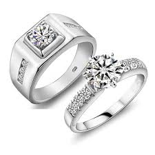 luxury diamonds rings images Luxury diamonds sterling silver wedding couple rings couple jpg