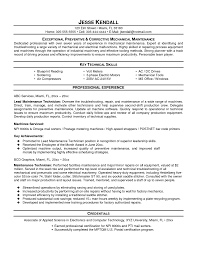Technician Resume Sample by Maintenance Technician Resume Examples Industrial Mechanic