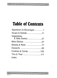 Cookbook Sections Free Printable Table Contents Template Family
