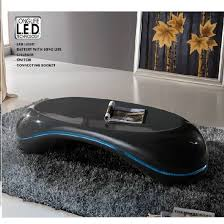 Coffee Tables With Led Lights Milania Curved Coffee Table In Gloss Anthracite With Led