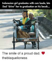 indonesian girl graduates with cum laude lets dad drive her to