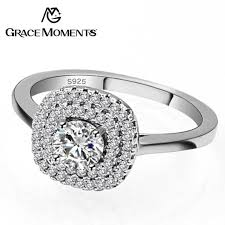 aliexpress buy anniversary 18k white gold filled 4 grace moments classic 1 carat 4mm 5mm 8mm cz wedding rings s925