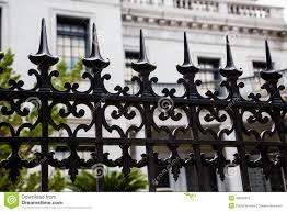 spikes on wrought iron fence stock photo image 49539415
