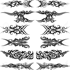 set of 6 different tribal in maoori style royalty free