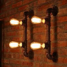 Vintage Industrial Light Fixtures 2 Light Water Pipe Shaped Antique Industrial Light Fixture