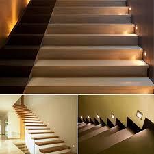 wooden stair tread lights lighting designs ideas
