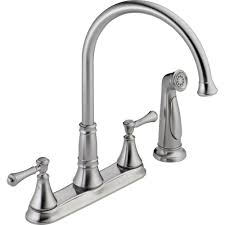 two handle kitchen faucet with sprayer delta cassidy 2 handle standard kitchen faucet with side sprayer