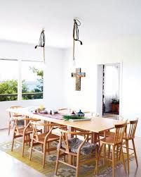 Large Wooden Dining Table by Pendant Lamp Dinng Room Light Fixtures Mixed Scandinavian Dining