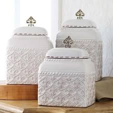 ceramic canisters sets for the kitchen mud pie ml6 kitchen white ceramic fleur de lis 3 canister