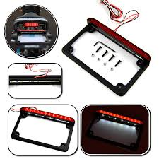 motorcycle license plate frame with led brake light bjmoto motorcycle aluminum led license plate frame with led tail