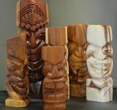 wood carved tiki s by folau tupou at in makawao