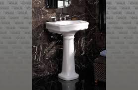 kohler bancroft pedestal sink shop kohler bancroft 3525 in h white vitreous china pedestal sink