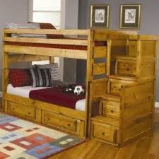 Solid Wood Bunk Beds With Stairs Foter - Wooden bunk beds with drawers