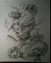 skull with snake and roses by mrmrsyoung on deviantart