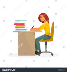 Student At Desk by Girl Student Sitting Desk Writing Education Stock Vector 504027718