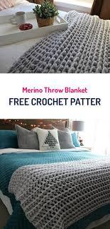 free crochet patterns for home decor merino throw blanket free crochet pattern crochet crafts diy