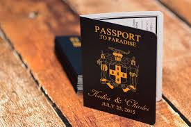 wedding invitations jamaica purple passport wedding invitations to sandals grande riviera