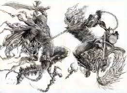 spawn vs ghostrider by wolfpact on deviantart