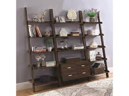 coaster 4 drawer ladder style bookcase coaster bookcases ladder bookcase set with dark walnut finish dunk
