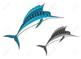 blue marlin fish in style for fishing sports design