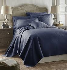Navy Blue Bedding Set by Q Diamente Caterina Quilted Tencel Cotton Bedspread Set Color