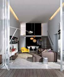 luxury style of small apartment interior touched by neon lamps
