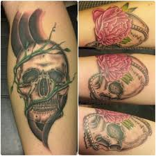 his and hers skull tattoos by mike enciso at a thin line tattoo in