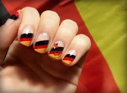 black red and yellow stripes german flag nail art