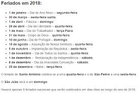 Calendario 2018 Feriados Portugal Feriados Em 2018 Portugal Free Printable Calendars 2017