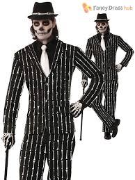 Skeleton Costume Halloween Mens Skeleton Bone Print Pin Stripe Suit Halloween Fancy