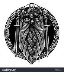 norse god odin with crows and swords graphic illustration in the