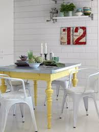 Yellow Kitchen Table And Chairs - colorful painted dining table inspiration