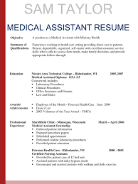 resume medical field sample medical assistant resume with no