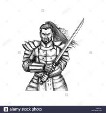 tattoo style illustration of a samurai warrior holding katana