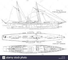 Cabin Plan by Steam Yacht Rigging Cabin Plan U0027capercailzie U0027 Antique Print