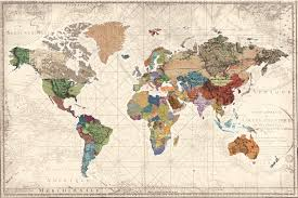Large World Map Canvas by Best Wall Maps 80 U0026 Under A Blue Nest