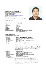 Visual Merchandising Job Description For Resume by Chad Resume Updated 2014