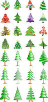 2 sets of 28 vector christmas tree logotypes in cartoon style with