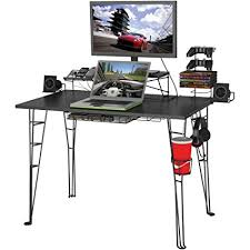 atlantic furniture gaming desk black carbon fiber amazon com atlantic gaming desk gaming computer desk kitchen