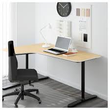 bureau d angle bekant bureau d angle gch plaqué bouleau noir 160x110 cm ikea