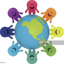 cartoon characters holding hands around the earth vector art