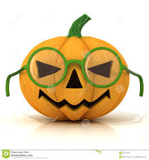 funny jack o lantern halloween pumpkin with green glasses stock