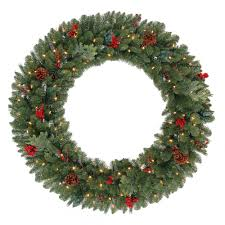 Decorated Christmas Wreaths Artificial by Martha Stewart Living 48 In Battery Operated Pre Lit Led Winslow