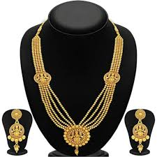 women necklace set images Quail gold plated traditional temple jewellery laxmi ji five jpg