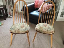 Ercol Dining Chair Pair Of Ercol Quaker Dining Chairs Complete With Ercol Cushions