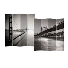 Canvas Room Divider Black And White Bridge 4 Panel Double Sided Painted Canvas Room