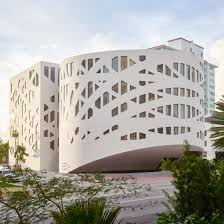 building new home design center forum oma has finished the perforated forms of the faena forum art and