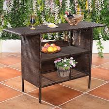Tiki Outdoor Furniture by Patio Bar Table Shelves Rattan Wicker Counter Outdoor Garden