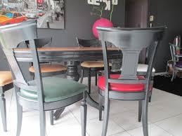 relooking table louis philippe et chaises en cuir de différentes
